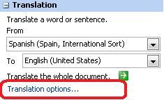 Panel Terjemahan dengan opsi Terjemahan