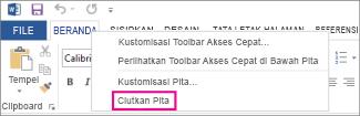 Perintah Ciutkan Pita setelah mengklik kanan tab pada pita di Word 2013
