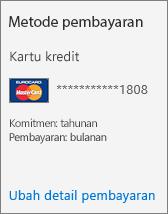 Bagian Metode pembayaran Kartu langganan untuk langganan yang dibayar menggunakan kartu kredit.
