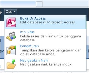 Menu Opsi situs database web di SharePoint