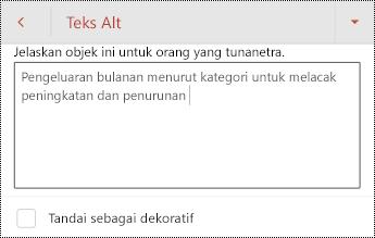 Teks Alt untuk tabel di PowerPoint untuk Android.