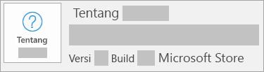 Cuplikan layar memperlihatkan versi dan build yang merupakan Microsoft Store