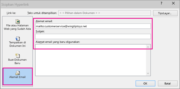 Memperlihatkan kotak dialog di mana menyisipkan link ke email dipilih