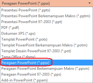 "Daftar tipe file di PowerPoint menyertakan ""PowerPoint Show (. ppsx)""."