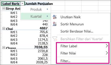 Opsi pemfilteran untuk data PivotTable