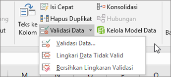 Menu validasi data