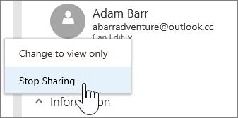 Cuplikan layar dari memilih izin orang dan berhenti berbagi