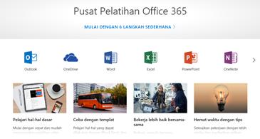 Laman Pusat Pelatihan Office dengan ikon untuk berbagai aplikasi Office dan ubin untuk tipe konten yang tersedia
