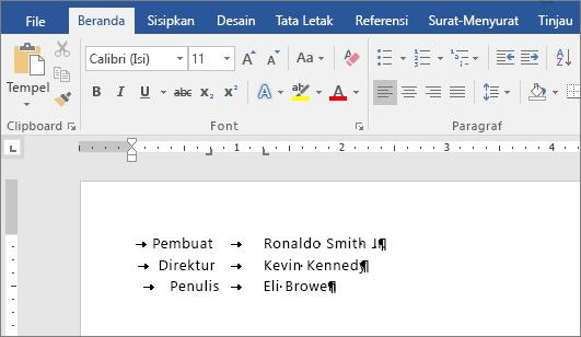 Contoh menunjukkan teks diratakan dengan hentian tab pada penggaris.
