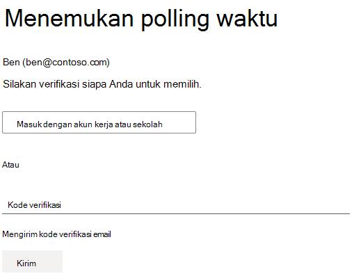 Contoh polling yang memerlukan autentikasi penyelenggara untuk memilih.