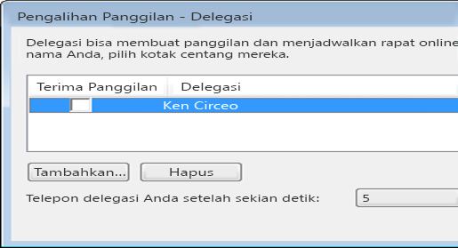 Cuplikan layar menambahkan delegasi di Lync