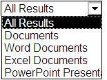 Pilihan hasil termasuk Semua Hasil, Dokumen, Dokumen Word, Dokumen Excel, dan Presentasi PowerPoint