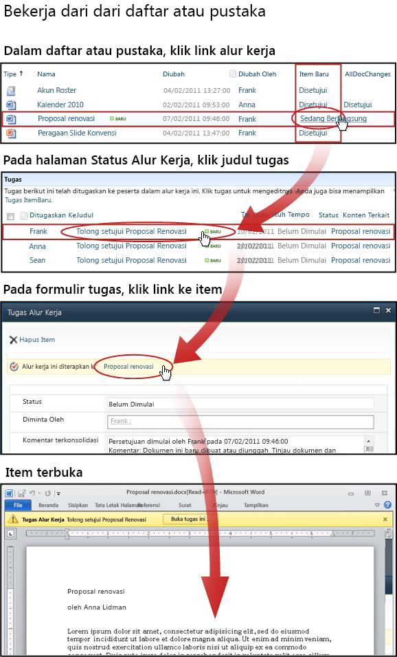 Mengakses item dan formulir tugas dari daftar atau pustaka