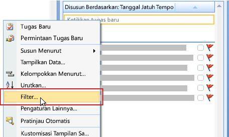 Filter perintah untuk Daftar Harus Dilakukan