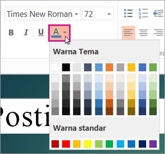Memilih warna untuk teks Anda