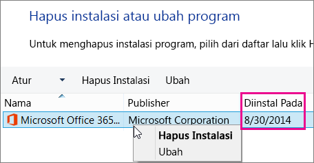 Gunakan Terinstal pada kolom untuk menentukan versi Office mana yang dihapus instalasinya