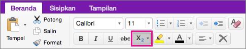 Klik tombol subskrip dan superskrip untuk membuat pilihan