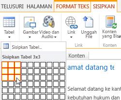 Menyisipkan tabel pada situs web publik SharePoint Online