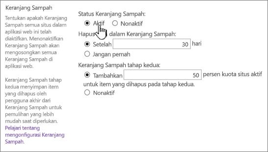 keranjang bagian pengaturan dari halaman pengaturan umum aplikasi web