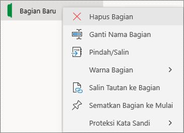 Cuplikan layar menu konteks untuk menghapus tab bagian di OneNote untuk Windows 10.