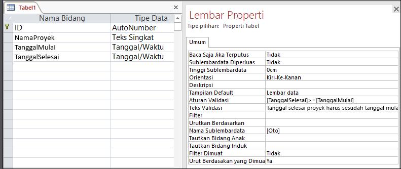 Aturan validasi tabel dalam desainer tabel Access.