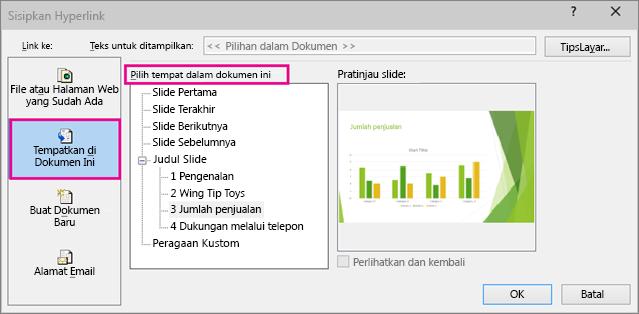 Memperlihatkan kotak dialog dengan menyisipkan link di dalam dokumen yang sama dipilih