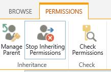 Izin Daftar pustaka kontrol memperlihatkan tombol berhenti pewarisan izin