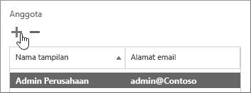 Menampilkan kotak dialog Pengguna Jaminan Layanan dengan menambahkan ikon yang disorot di bawah bagian bernama Anggota.