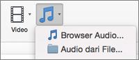 Menu Sisipkan audio dengan pilihan audio dari file dan browser audio