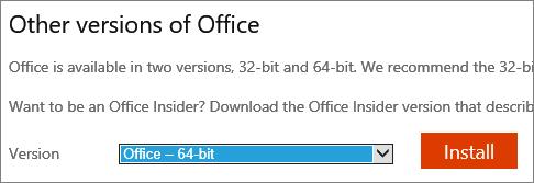 Cuplikan layar daftar drop-down untuk memilih opsi untuk menginstal Office - 64-bit