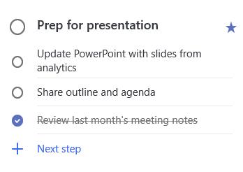 Tampilan detail persiapan tugas untuk presentasi dengan tiga langkah: Perbarui PowerPoint dengan slide dari Analytics, bagikan kerangka dan agenda dan Tinjau catatan Rapat bulan lalu, yang diselesaikan