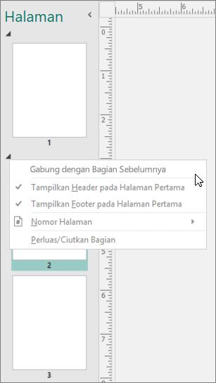 Cuplikan layar memperlihatkan bagian yang dipilih dengan kursor mengarah ke gabungan dengan opsi bagian sebelumnya.