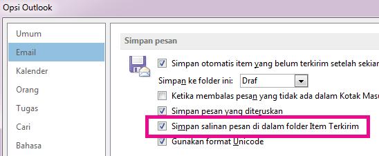 """Kotak centang untuk """"Simpan salinan pesan di folder Item Terkirim"""" dipilih."""