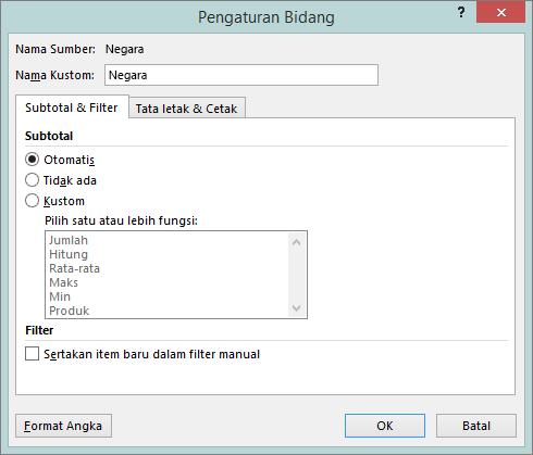 Tab subtotal & filter dalam kotak dialog Pengaturan bidang