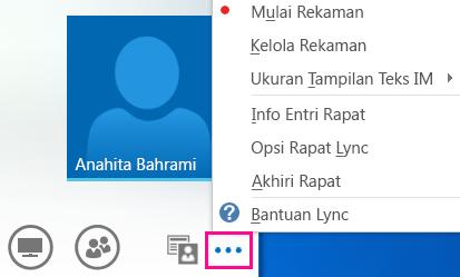 Cuplikan layar opsi lainnya dalam rapat