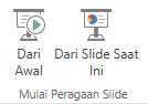 Mulailah menyajikan presentasi dengan beralih ke tab Tampilan, lalu memilih salah satu tombol Mulai Peragaan Slide.
