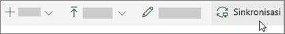 Toolbar SharePoint online dengan opsi sinkronisasi dipilih