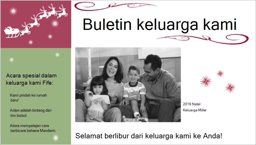 Gambar buletin keluarga hari Raya dengan foto
