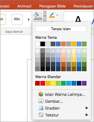 Cuplikan layar memperlihatkan opsi yang tersedia dari menu isian bentuk, termasuk tanpa isian, warna tema, warna standar, warna isian lainnya, Gambar, gradien, dan tekstur.