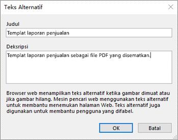 Dialog Tambahkan teks alt ke hasil cetak file