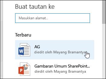 Menambahkan link di pustaka dokumen untuk item baru