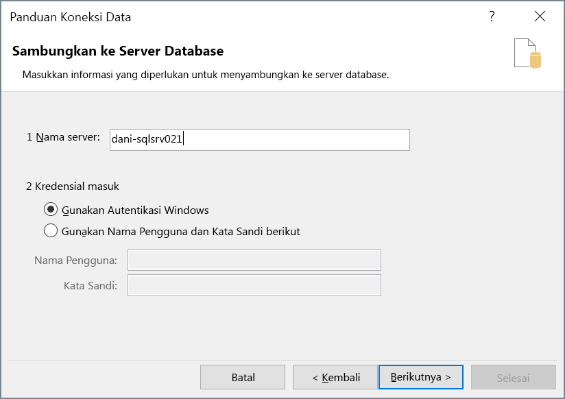 Menyambungkan ke Server Database