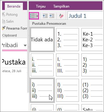 Cuplikan layar cara menambahkan penomoran ke halaman di OneNote 2016.
