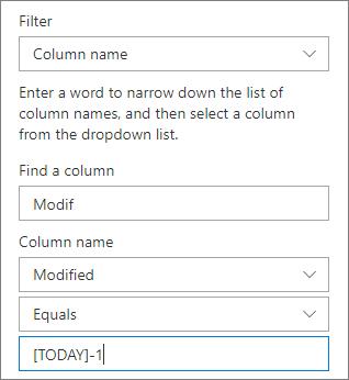 Filter untuk pustaka dokumen yang menggunakan nama kolom