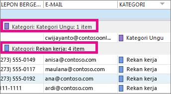 Klik header kolom Kategori untuk mengurutkan daftar berdasarkan warna.
