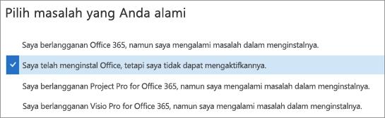 Memperlihatkan opsi aktivasi Office di Asisten Dukungan dan Pemulihan