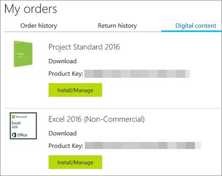 Memperlihatkan kunci produk di Bursa Microsoft di halaman Konten digital