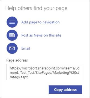 Opsi untuk membantu orang lain menemukan halaman Anda.