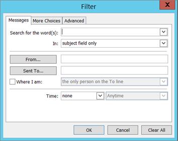 Pilih Filter jika Anda hanya ingin mengimpor email tertentu.