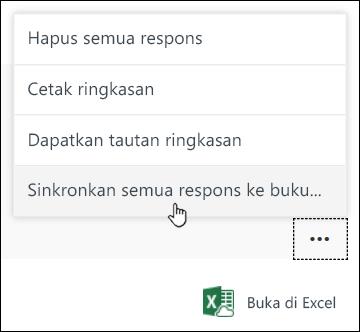 Opsi Sinkronkan semua respons ke buku kerja baru di Microsoft Forms